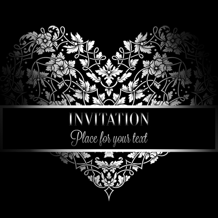 victorian wallpaper: Floral invitation card with antique, luxury black and white vintage frame and big ornamental heart,victorian banner,exquisite wallpaper ornament, baroque style booklet,fashion pattern,design template.