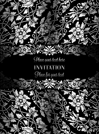 exclusive: Floral invitation card with antique, luxury black and silver vintage frame and ornamental lacy background,victorian banner,exquisite wallpaper ornament, baroque style fashion pattern, design template.