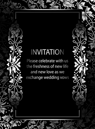 victorian wallpaper: Floral invitation card with antique, luxury black and silver vintage frame and ornamental lacy background,victorian banner,exquisite wallpaper ornament, baroque style fashion pattern, design template.