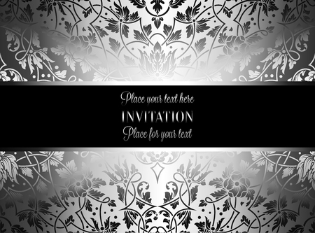victorian wallpaper: Floral invitation card with antique, luxury silver and gray vintage frame and ornamental lacy background,victorian banner,exquisite wallpaper ornament, baroque style fashion pattern, design template.