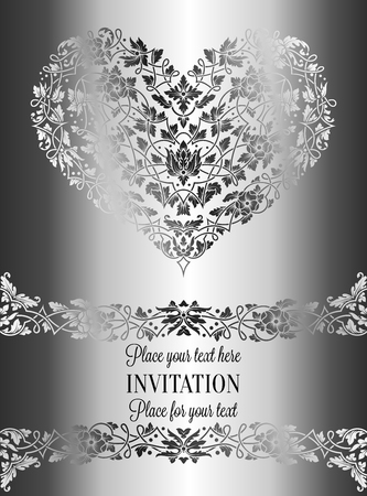 victorian wallpaper: Floral invitation card with antique, luxury silver and gray vintage frame and ornamental heart,victorian banner,exquisite wallpaper ornament, baroque style fashion pattern, design template.