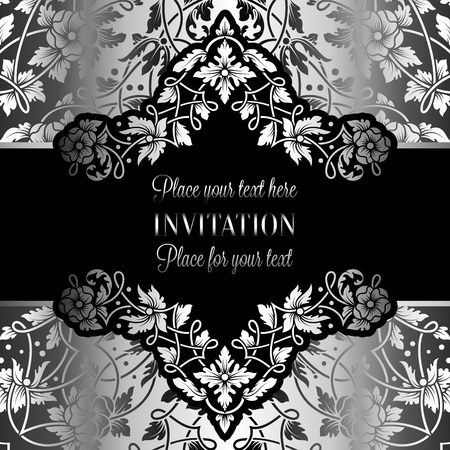 exclusive: Floral invitation card with antique, luxury silver and gray vintage frame and ornamental lacy background,victorian banner,exquisite wallpaper ornament, baroque style fashion pattern, design template.