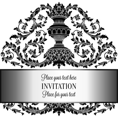 artdeco: Victorian rich background with antique, luxury black and white vintage frame, ornamental banner, royal gold vase with floral lacy swirls, invitation card in baroque style,booklet with fashion pattern.