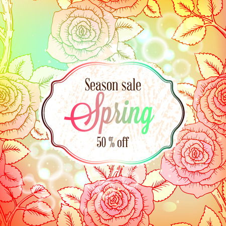 Spring season sale banner with colorful rose flowers and leaves, with soft pastel background for Spring Seasonal Promotion or decoration