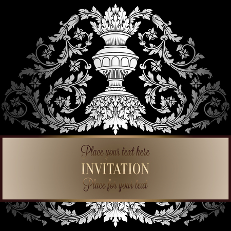 artdeco: Victorian rich background with antique, luxury black and silver vintage frame, ornamental banner, royal gold vase with floral lacy swirls, invitation card in baroque style,booklet with fashion pattern. Illustration