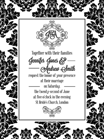 etiquete: Damask pattern design for wedding invitation in black and white. Pattern is included as seamless swatch for easier use and edit Illustration