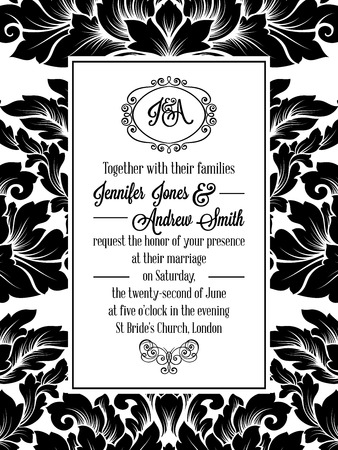 Damask pattern design for wedding invitation in black and white. Pattern is included as seamless swatch for easier use and edit. Brocade royal frame and exquisite monogram. Иллюстрация
