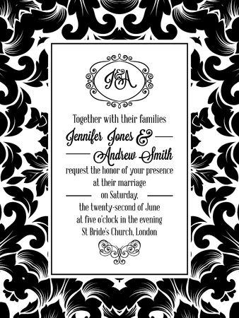 Damask pattern design for wedding invitation in black and white. Pattern is included as seamless swatch for easier use and edit. Brocade royal frame and exquisite monogram.