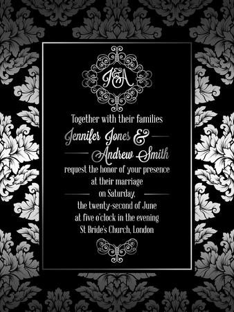 Vintage baroque style wedding invitation card template elegant vintage baroque style wedding invitation card template elegant formal design with damask background stopboris Image collections