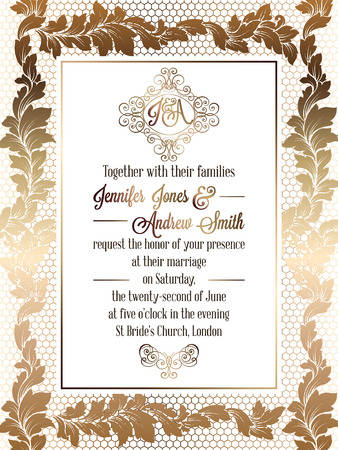 Vintage baroque style wedding invitation card template.. Elegant formal design with damask background, traditional decoration for wedding. Gold on white background