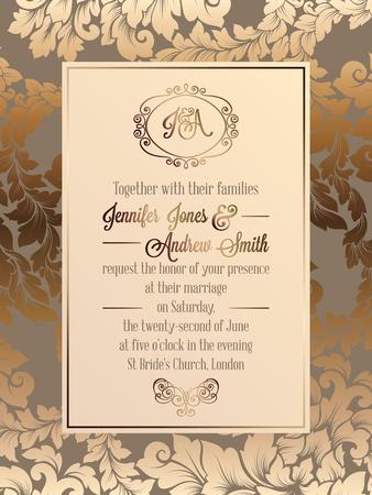 Vintage Baroque Style Wedding Invitation Card Template Elegant