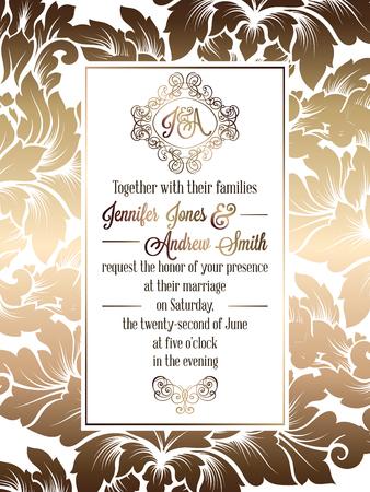 빈티지 바로크 스타일 결혼식 초대 카드 템플릿 ... 다마 배경, 결혼식을위한 전통적인 장식의 우아한 공식적인 디자인. 흰색 배경에 금메달