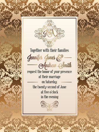 baroque: Vintage baroque style wedding invitation card template.. Elegant formal design with damask background, traditional decoration for wedding.