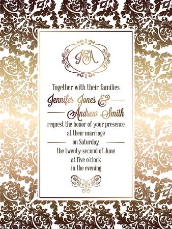 baroque: Vintage baroque style wedding invitation card template.