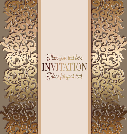artdeco: Antique baroque luxury wedding invitation, gold on beige background with frame and place for text, lacy foliage with shiny gradient.