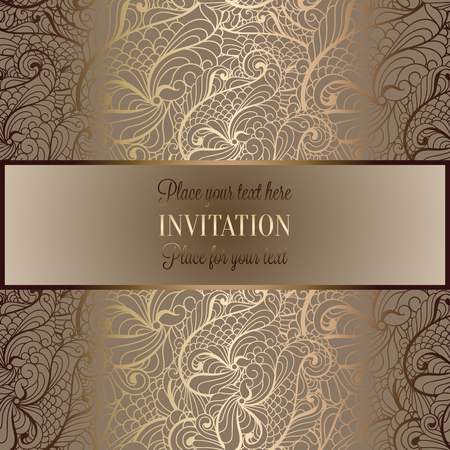 Abstract background, luxury beige and gold vintage frame, victorian banner, damask floral wallpaper ornaments, invitation card, baroque style booklet, fashion pattern, template for design. 向量圖像