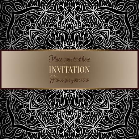 Barokke achtergrond met antiek, luxe zwart en metaal zilveren vintage frame, Victoriaanse banner, ornamenten van het damast de ingewikkelde behang, uitnodigingskaart, barok stijlboekje, kantdecoratie, textiel. Stock Illustratie