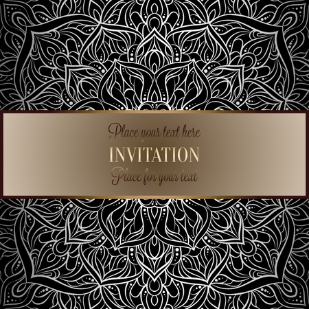 Baroque background with antique, luxury black and metal silver vintage frame, victorian banner, damask intricate wallpaper ornaments, invitation card, baroque style booklet, lace decoration, textile. Çizim