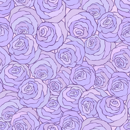 Floral decorative bright pink background with cute roses, seamless pattern in lilac colors. Illustration