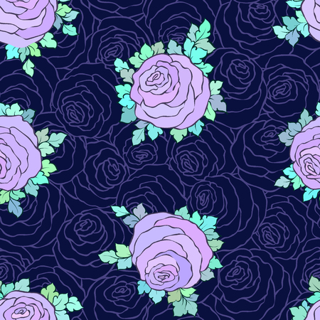 Floral decorative bright wallpaper with cute roses, seamless pattern in lilac colors on blue background. Illustration