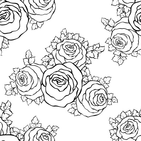 repeated: Floral decorative black and white background with cute roses, monochrome seamless pattern.