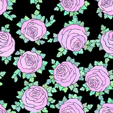 Floral decorative bright pink background with cute roses, seamless pattern in pastel pink colors.