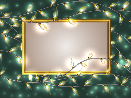 Gold frame with place for text surrounded by Colorful Glowing Christmas Lights.Vector elements can be used as backdrop for new Year card. Holiday Illustration, luminous electric garland, shiny light bulbs and wire.