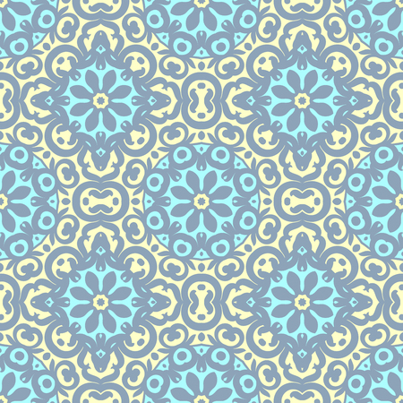 Vector seamless pattern with bright ornament. Tile in Eastern style. Ornamental lace tracery. Ornate swirl geometrical decor for wallpaper. Traditional arabic decor.