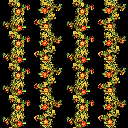Traditional Russian vector seamless pattern in khokhloma style with flowers and berries