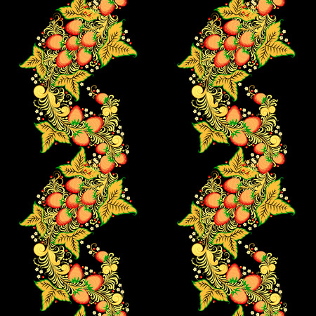 Traditional Russian vector seamless pattern in khokhloma style with flowers and strawberry