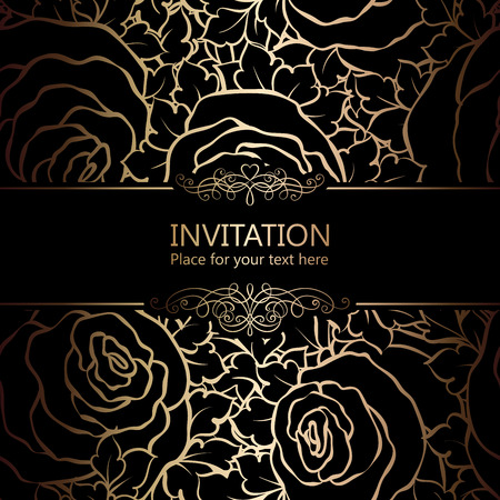 Abstract background with roses, luxuryblack and gold vintage frame, victorian banner, damask floral wallpaper ornaments, invitation card, baroque style booklet, fashion pattern, template for design.