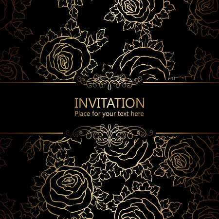 Abstract background with roses, luxury black and gold vintage frame, victorian banner, damask floral wallpaper ornaments, invitation card, baroque style booklet, fashion pattern, template for design Illustration