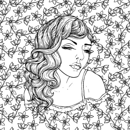 Face of pretty elegant boho girl on floral background . Beautiful wavy curly hair and pouty lips. Hand drawn amazing floral bohemia coloring book page for adult. Illustration