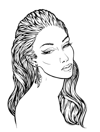 lineart: Girl with streaming wavy hair, lineart hand drawn vector illustration for coloring book. Fashion illustration of young woman.