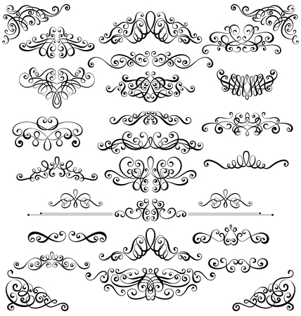 Collection of vintage calligraphic flourishes, curls and swirls decoration for greeting cards,books or dividers Ilustração