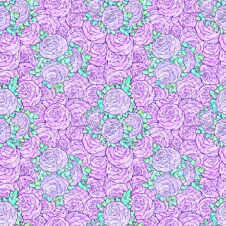 Floral decorative bright wallpaper with cute roses, seamless pattern in lilac colors.