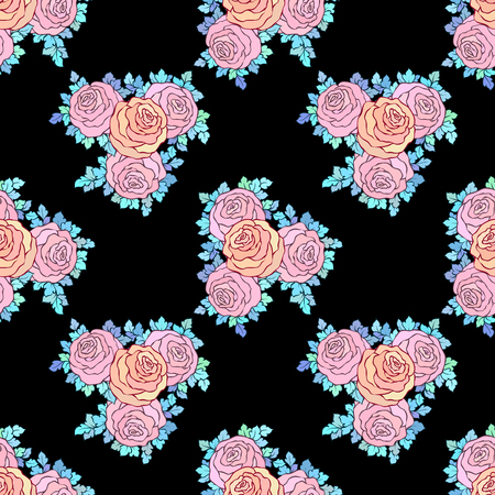 Floral decorative bright wallpaper with cute roses, seamless pattern in pastel pink colors on black background. Illustration