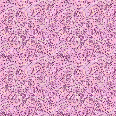 Floral decorative bright pink background with cute roses, seamless pattern.