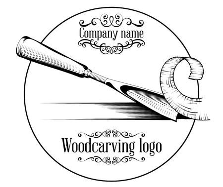 Woodcarving logotype Illustration with a chisel, cutting a wood slice, vintage style logo, black and white isolated. Çizim