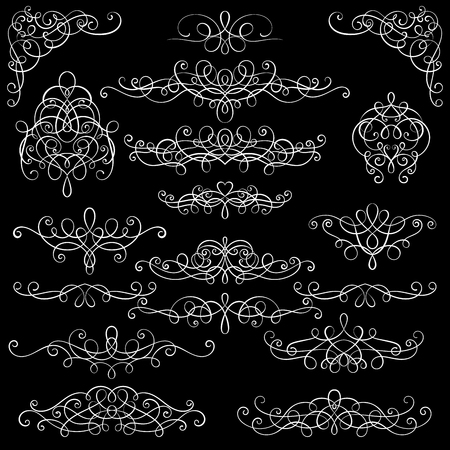 Collection of vintage calligraphic flourishes, curls and swirls decoration for greeting cards,books or dividers Illustration