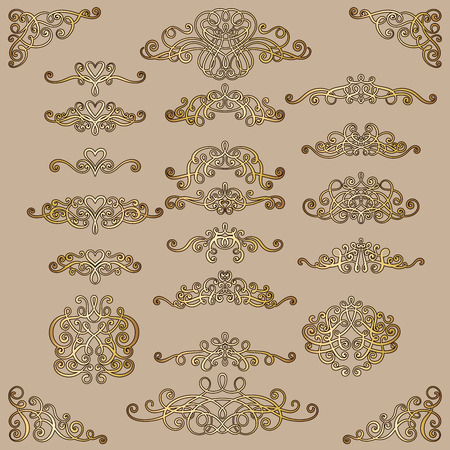 Collection of vintage calligraphic flourishes, curls and swirls decoration for greeting cards,books or dividers. Gold set for decoration and design.