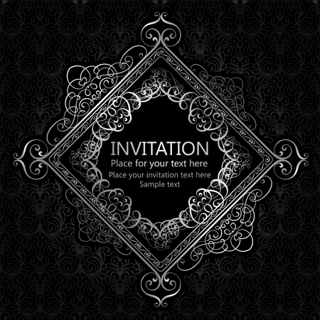 cartoline vittoriane: Abstract background with calligraphic luxury silver flourishes and vintage frame, victorian banner,wallpaper ornaments, invitation card, baroque style booklet, fashion pattern, template for design Vettoriali