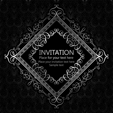 Abstract background with calligraphic luxury silver flourishes and vintage frame, victorian banner,wallpaper ornaments, invitation card, baroque style booklet, fashion pattern, template for design Illustration