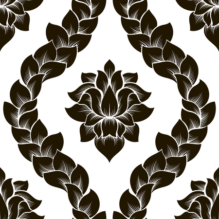 Vector floral seamless damask pattern. Black and white monochrome design.