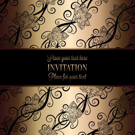 Vintage Baroque Wedding Invitation Template With Butterfly