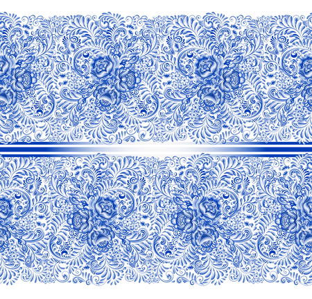Russian traditional painting in white and blue. Horizontal seamless pattern in gzhel style. Floral blue flower and foliage in one stroke brush technique