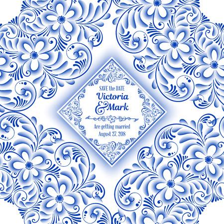 Wedding invitation card in Russian ornamental traditional painting art style gzhel. Blue flowers and scrolls, exquisite folk ethnic design Иллюстрация