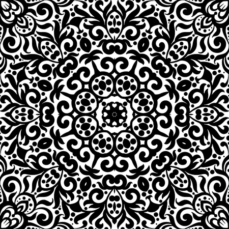 Black and white seamless pattern with flourishes, monochrome intricate background.