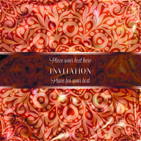 Rose Gold Wedding Invitation card template design with damask pattern on silky background. Lacy intricate textile effect.