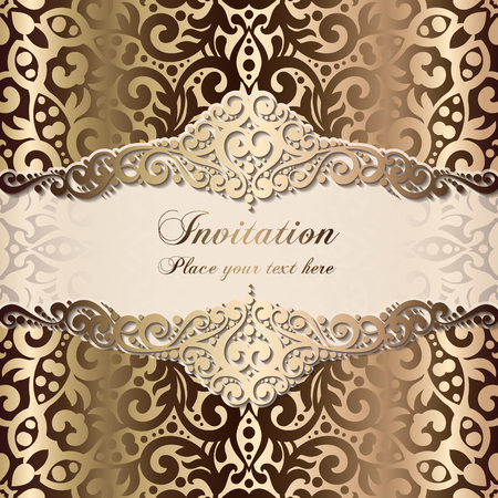 Gold Wedding Invitation card template design with damask pattern on silky background. Lacy intricate textile effect.